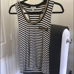 Cache loose fit stripe chain tank top